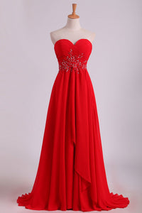 2019 Sweetheart A Line With Beading And Ruffles Chiffon Prom Dresses
