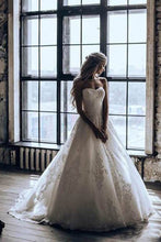 Load image into Gallery viewer, Elegant A-Line 3D Lace Wedding Dresses Chapel Train Wedding Dress