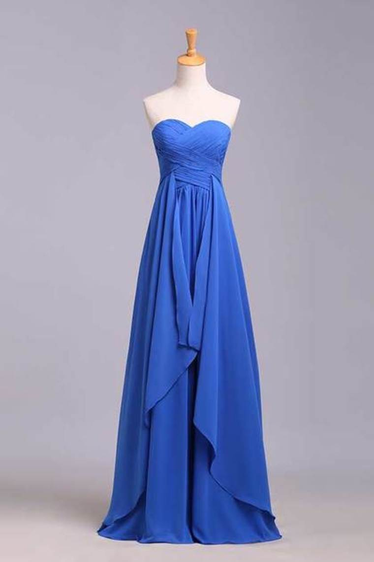 2019 Simple Prom Dresses Sweetheart Ruffled Bodice A Line Floor Length Chiffon