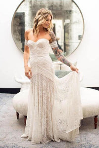 Vintage Mermaid Lace Sweetheart Neck Sheath Sweep Train Wedding Dress