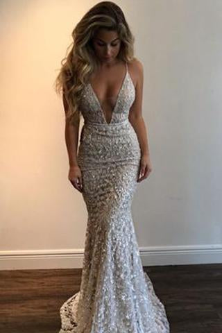 Gorgeous Deep V-Neck Spaghetti Straps Sleeveless Mermaid Long Prom Dresses RS768