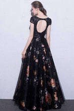Load image into Gallery viewer, 2019 Black Prom Dresses Scoop A-Line Floral Print Sexy Long Lace Prom Dress