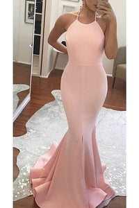 2019 New Arrival Halter Open Back Satin With Slit Mermaid Evening Dresses