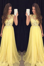 Load image into Gallery viewer, 2019 Prom Dresses Scoop A Line Chiffon With Applique Zipper Up
