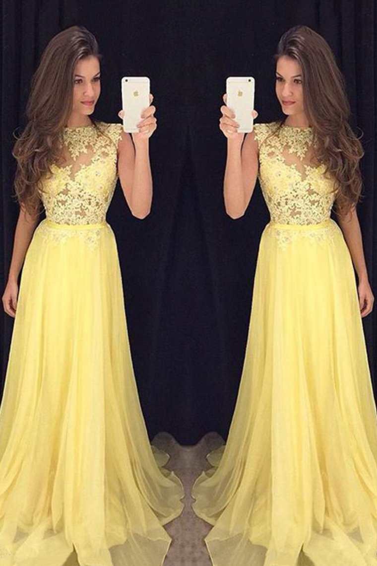 2019 Prom Dresses Scoop A Line Chiffon With Applique Zipper Up