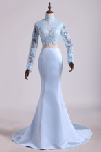 Load image into Gallery viewer, 2019 Two Pieces Prom Dresses Mermaid Spandex & Tulle With Applique Light Sky Blue