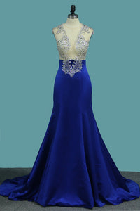 2019 Satin Mermaid V Neck Beaded Bodice Prom Dresses Sweep Train