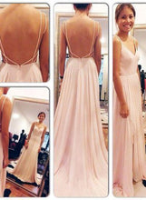 Load image into Gallery viewer, Backless Spaghetti Straps V-Neck Pink Open Back Chiffon Evening Gowns RS508
