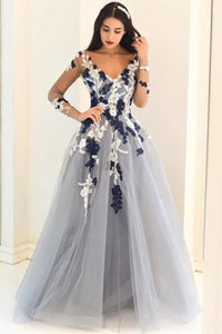 2019 A-Line/Princess V-Neck Long Sleeves Applique Tulle Floor-Length Dresses Evening Dress