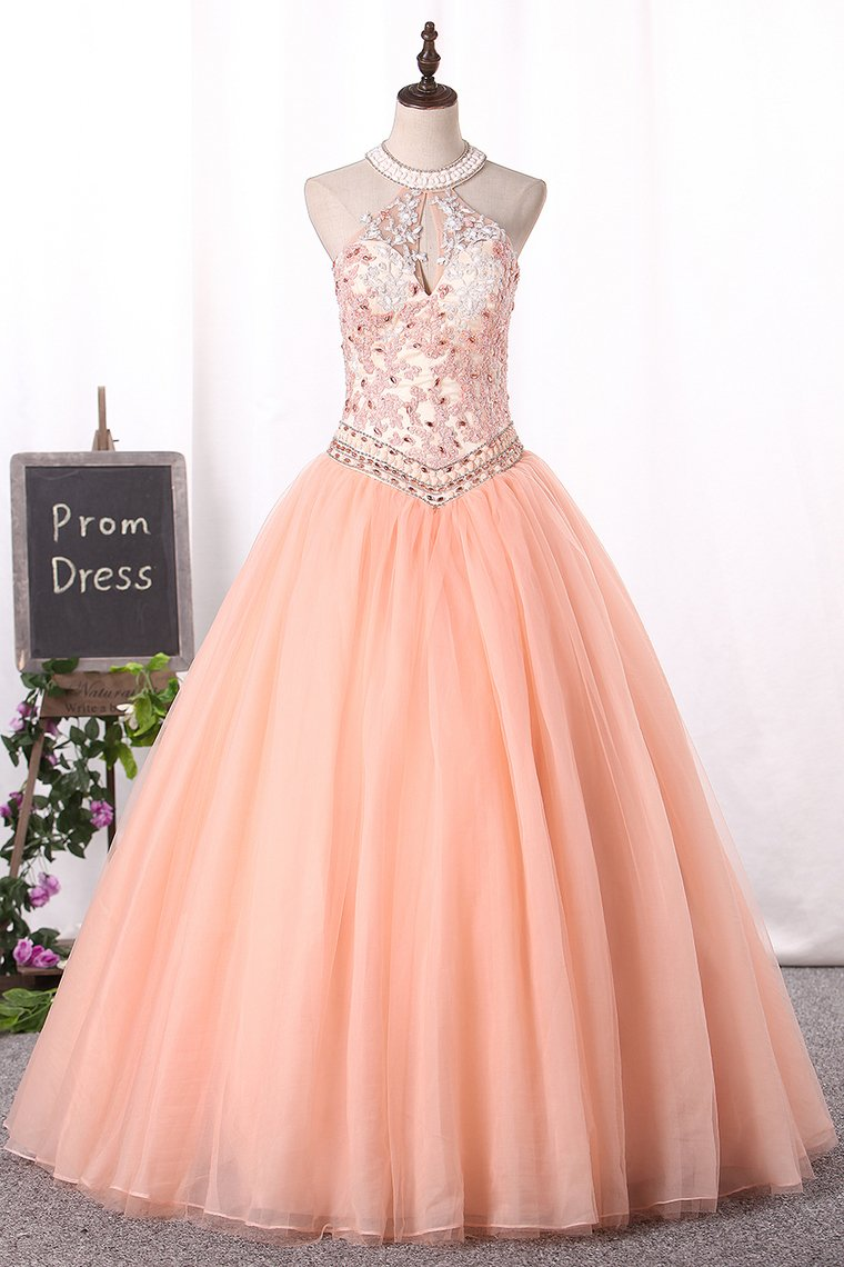 2019 Ball Gown High Neck Quinceanera Dresses Tulle With Applique Lace Up