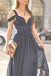 Navy Blue Off-The-Shoulder Long Chiffon Formal With Straps Sleeves Modest Bridesmaid Gown RS77