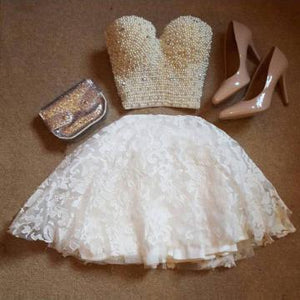 A-Line Two Pieces Sweetheart Short White Lace Knee Length Homecoming Dress with Pearls RS704