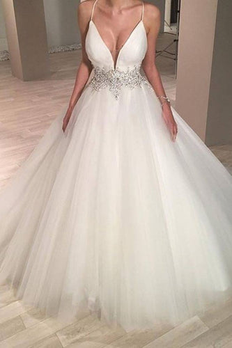 2019 Stylish Wedding Dress Spaghetti Straps A-Line Tulle With Beaded Waistline