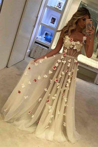 Spaghetti Straps See Through Long A-Line Ivory Prom Dresses With Appliques