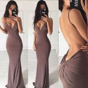 Sexy mermaid backless long cheap simple off shoulder v-neck popular on sale summer dress 15225