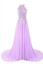 Load image into Gallery viewer, Halter Applique Open Back Long Chiffon Prom Dresses Evening Dresses RS490