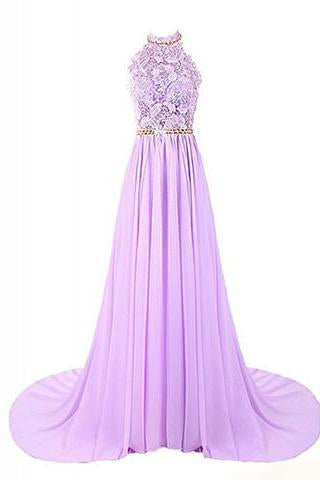 Halter Applique Open Back Long Chiffon Prom Dresses Evening Dresses RS490