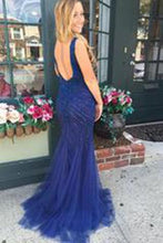 Load image into Gallery viewer, V-neck Beading Backless Long Mermaid Prom Dresses Evening Dresses RS550