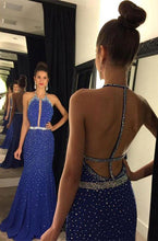 Load image into Gallery viewer, Halter Backless Sequins Long Satin Prom Dresses Evening Dresses RS505