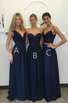 Unique Long Wedding Bridesmaid Dresses Blue A-Line Dresses for Bridesmaids RS611