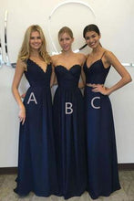 Load image into Gallery viewer, Unique Long Wedding Bridesmaid Dresses Blue A-Line Dresses for Bridesmaids RS611