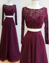 Load image into Gallery viewer, Two Piece Burgundy Bateau Long Sleeves Floor-Length Prom Dress with Lace Beading RS607