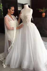 2019 Sweetheart Wedding Dresses A Line Tulle With Applique Court Train