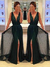 Load image into Gallery viewer, Sheath Deep V-Neck Sweep Train Dark Green Lace Sleeveless Prom Dress with Split Sequins RS697