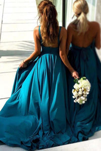 Simple Blue Long Backless Bridesmaid Dresses V Neck With Split