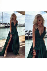 2019 V Neck A Line Satin Prom Dresses With Slit Sweep Train