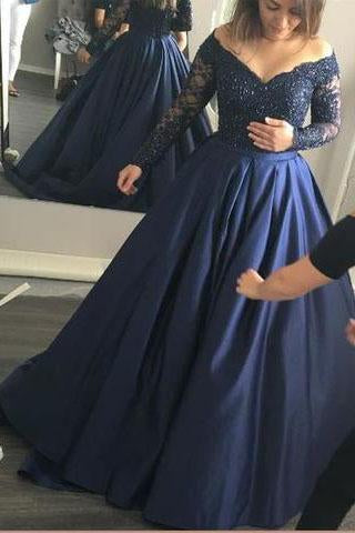 Long Sleeve Dark Navy Long Charming Evening Dress Prom Gowns Formal Women Dresses Z43