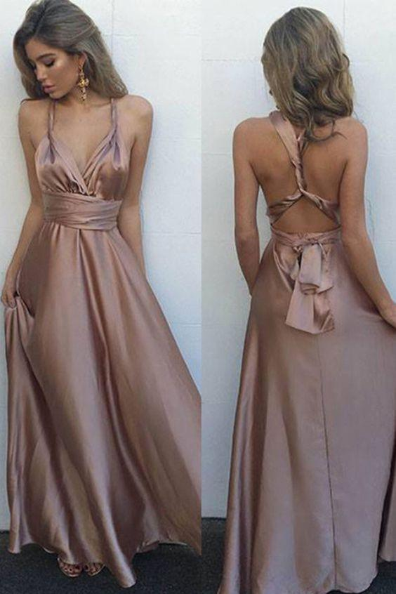 Sexy Blush V-Neck Sleeveless Floor Length with Pleats Crisscross Back Prom Dresses RS767