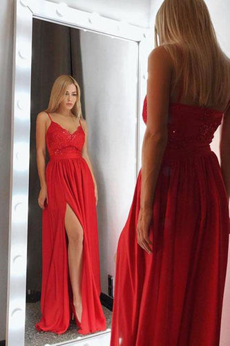 Sexy Red V-Neck Spaghetti Straps Satin Lace Bodice Floor Length Split Prom Dresses RS768