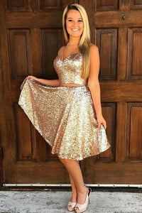 A-Line V-Neck Golden Sleeveless Knee-length Sequins Two Piece Homecoming Dresses RS747