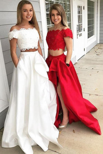 A-Line Princess Off-the-Shoulder Sleeveless Brush Train Lace Satin Two Piece Prom Dresses RS562