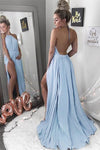 Sexy A-Line Halter Neck Backless Sleeveless Blue with Slit Chiffon Prom Dresses RS410