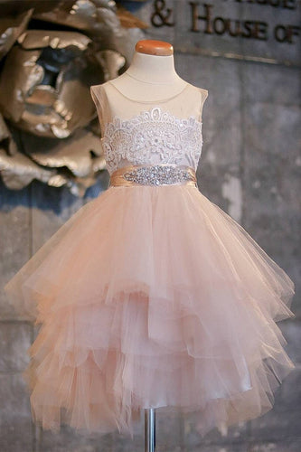 Blush Pink Flower Girl Dresses Cap Sleeve Asymmetric Tulle Lace Top Cute Dress for Kids RS99