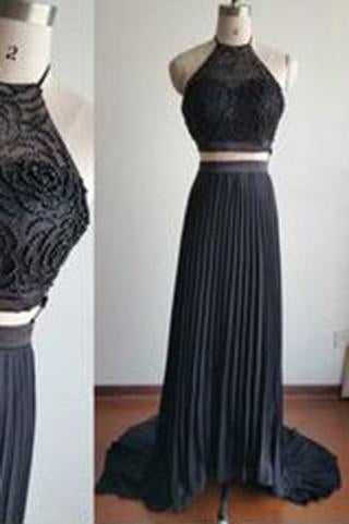 Gorgeous Halter Court Train Two Pieces Black Beads Chiffon Backless Prom Dresses RS776