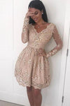 A Line V neck Lace Short Prom Dress Long Sleeve Satin Appliques Homecoming Dresses RS694
