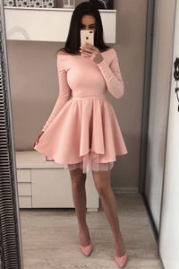 A Line Long Sleeve Blush Pink Off the Shoulder Satin Short Homecoming Dresses RS996