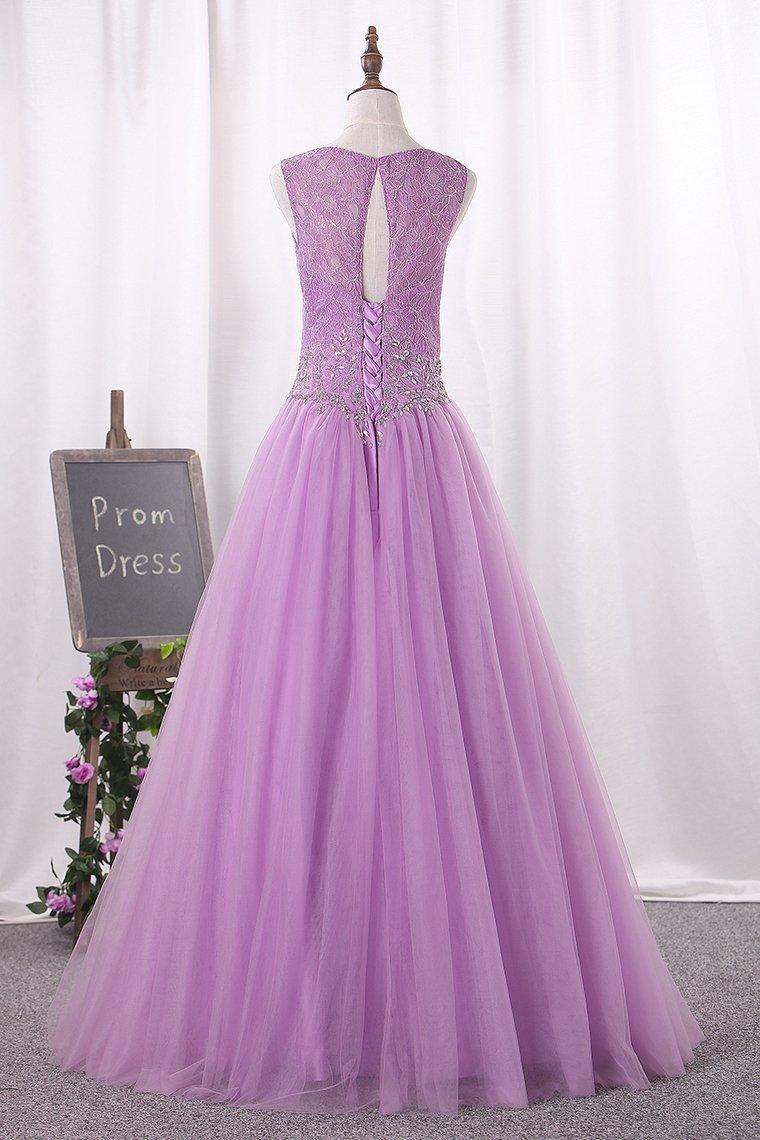 2019 Ball Gown Scoop Quinceanera Dresses Floor-Length Tulle Lace Up Back