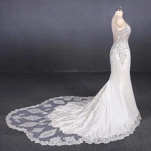 Spaghetti Straps Mermaid Wedding Dress with Lace, V-neck Wedding Dresses SRS15418