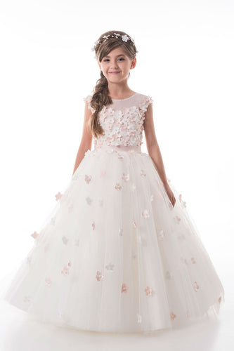 2019 A Line Flower Girl Dresses Scoop Tulle With Handmade Flowers Lace Up