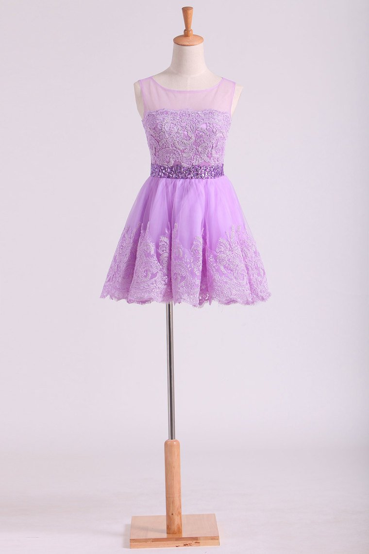 2019 Scoop Tulle Homecoming Dresses A-Line  With Applique Short/Mini