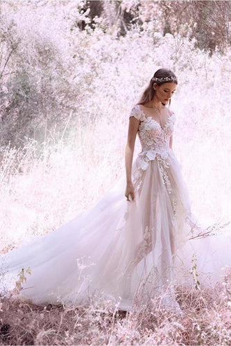 Princess Ivory Cap Sleeve Tulle Long Cheap Wedding Dresses