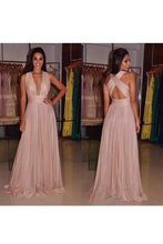 Load image into Gallery viewer, 2019 Evening Dresses V Neck Open Back Chiffon With Ruffles A Line