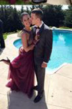 Load image into Gallery viewer, Stylish Burgundy Two Pieces A-line Beading Long Wedding Party Gown Cocktail Formal Wear pst1405