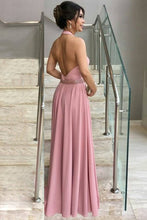 Load image into Gallery viewer, 2019 A Line Halter Prom Dresses With Beads Waistline Elastic Satin