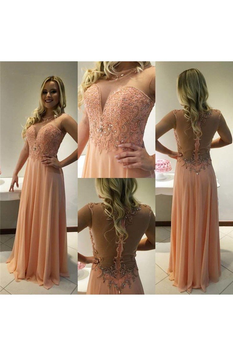 2019 Scoop Beaded Bodice Prom Dresses A Line Chiffon Floor Length