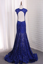 Load image into Gallery viewer, 2019 Sexy Open Back Mermaid Prom Dresses Scoop Lace With Beading